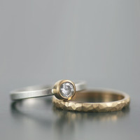 unique stacking wedding ring set - alternative moissanite and gold engagment rings - his and hers his and his hers and hers - ecofriendly