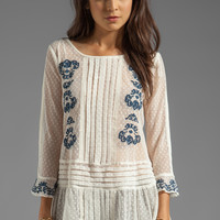 Free People Jocelyn's Embroidered Top in Ivory