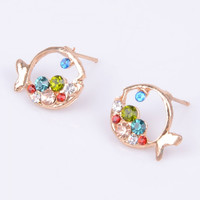 2pcs Luxury Hollow-out Clownfish Shape Rhinestone Women's Stud Earrings Colorful