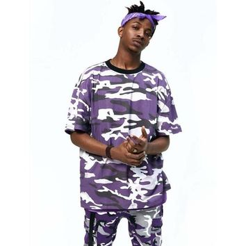 2017 Latest TOP KANYE WEST camouflage camo oversized men t shirt hip hop justin bieber Pink purple Short-sleeved cotton tee S-XL