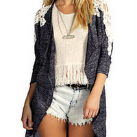 Gray Long Sleeve Crochet Lace Knitted Cardigan with Pocket