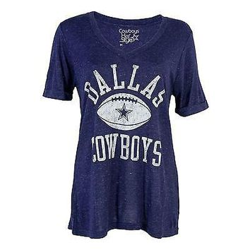 d8275c6be97 Dallas Cowboys T-shirt Women's Alvord Tee V-Neck Navy Officially
