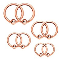 BodyJ4You Captive Bead Ring Piercing Set 14G Steel Nose Tragus Nipple Belly 8 Pieces