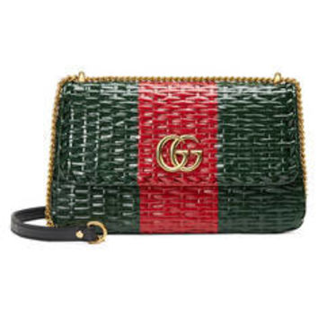 Gucci Web straw small shoulder bag