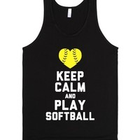 Keep Calm and Play Softball (Tank)-Unisex Black Tank