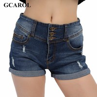 GCAROL Ripped Denim Casual Mid Waist Cuff Jeans Shorts Summer Spring Autumn Plus Size 32 Shorts