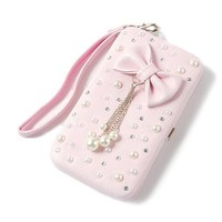 Faux Leather Bow, Pearl and Rhinestone Smartphone Wristlet for iPhone 5 and 5s | Claire's