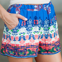 Bright New Way Shorts, Blue-Coral