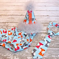 Woodland Fox First Birthday Cake Smash Outfit - personalized hat, tie, and diaper cover for baby boy