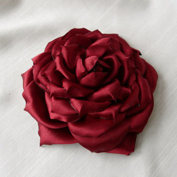 Large Red Hair Flower, Satin Hair Rose, Burgundy Headpiece, Scarlet Flower Pin, Red Wedding Hair Flower