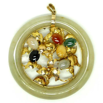 Large Zen Jade Donut Pendant with 14K gold leaves & Gemstones - Signed TYLK for Tai Yick Lai Kee LTD.