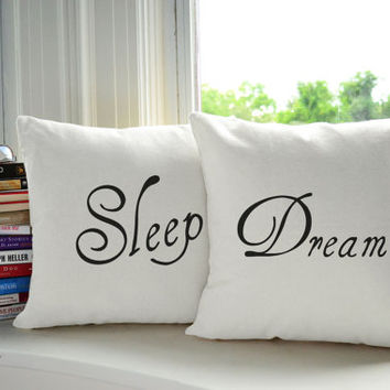 Set of 2 Sleep and Dream throw pillows- Covers and or Cushions - 14x14 or 16x16, Available in White or Natural Canvas