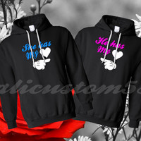She Has My Heart / He Has My Heart Couple Hoodies