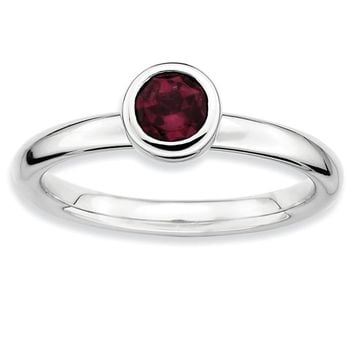 Sterling Silver Stackable Expressions 5mm Round Low Set Rhodolite Garnet Ring