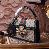 GUCCI WOMEN'S HOT STYLE LEATHER QUEEN MARGARET HANDBAG INCLINED SHOULDER BAG