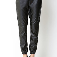 Ultra Chic Faux Leather Joggers