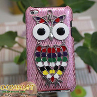 Pink Hard Case Cover with Antique Silvery Cute Owl by moonboat