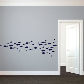 60pcs/4size custom nursery School of Simple Fish Wall Decal Vinyl Art Stickers for window bathroom Interior decor free ship,M2S1