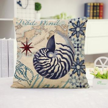 Nautilus Shell Cotton Linen Pillow Cover
