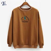 High Street Ladies Autumn New Arrivals Casual Pullovers Plain Khaki Round Neck Long Sleeve Letters Embroidered Sweatshirt
