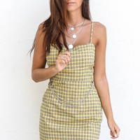 Miss Perfect Plaid Mustard Woven Dress