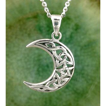 Celtic Knot Crescent Moon with Pentagram Necklace