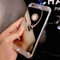 _ Lifetime Warranty + FREE Screen Protector _ | iPhone 5/5S Luxury Hybrid Beauty Crystal Rhinestone With Gold Sparkle Glitter Hard Protective Diamond Case (iPhone 5/5S)