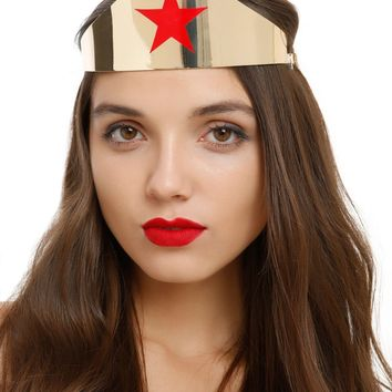 Licensed cool DC  WONDER WOMAN Movie Replica Tiara Crown Headpiece SHINY Gold Red Star