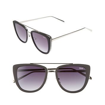 Quay Australia - French Kiss Cat Eye Sunglasses - Black/Smoke