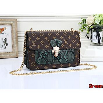 LV Louis Vuitton Newest Popular Women Leather Metal Chain Shoulder Bag Crossbody Satchel Green