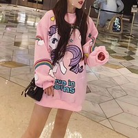 """Moschino"" Women Casual Cute Cartoon Pony Rainbow Letter Pattern Print Loose Long Sleeve Pullover Sweater Tops"