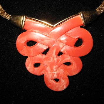 Vintage Givenchy Coral Lucite and Goldtone Necklace