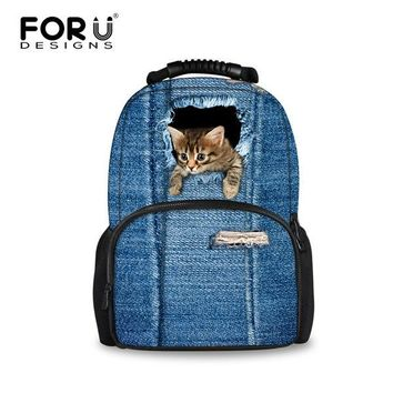 University College Backpack FORUDESIGNS Cute Cat  for Teenager Girls School Bag 3D Printing s Fashion Female Bagpack  Laptop Bags NewAT_63_4