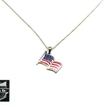 Stainless Steel American Flag Pendant w/ necklace