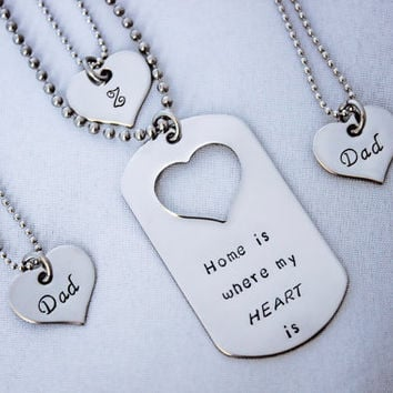 Home is Where My Heart Is - Family Hand Stamped Jewelry Set - Stainless Steel Dog Tag and Heart Necklaces - Deployments and Long Distance