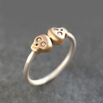 Double Baby Skull Ring in 14k Gold and Sterling Silver with Diamonds
