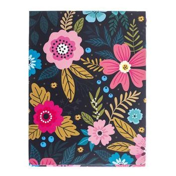 Navy Floral Pocket Note