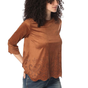 Q2 Camel Suede Top With Laser Cut Outs