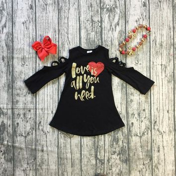 new Valentine's day baby girls children clothes cotton spring love is all you need off shoulder dress boutique match accessories