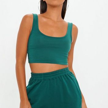 Missguided - Teal Scoop Neck Bralet