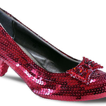 Size 10 Dorothy's Ruby Red Replica Sequin Slipper Heels