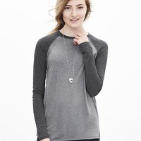 Banana Republic Womens Colorblock Baseball Tee
