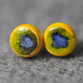 Stud earrings, ceramic earrings, hand made, ready to ship, zolanna,  ceramic jewelry, gift for her