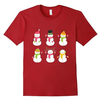 Happy Snowman Face T-Shirt Cute Christmas Holiday Gift
