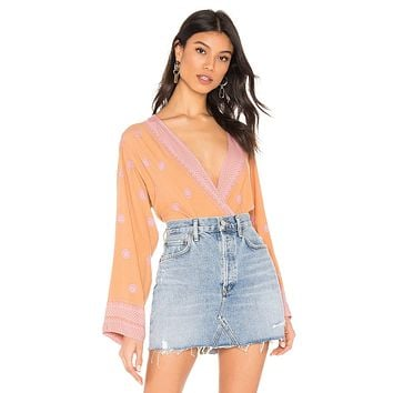 Free People On Board Plunging Bodysuit Brown