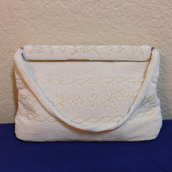Vintage White Beaded Walborg Handbag