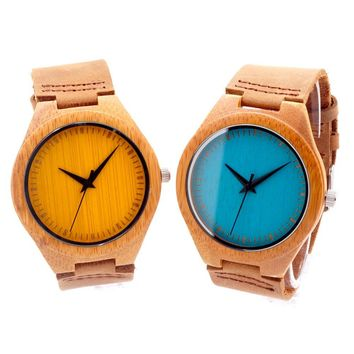 Minimalist Bamboo Watch with Genuine Leather Strap