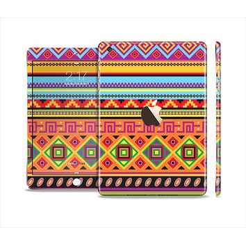 The Vector Gold & Purple Aztec Pattern V32 Full Body Skin Set for the Apple iPad Mini 3