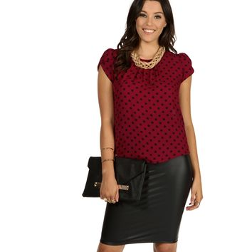 Burgundy Dots All Over Blouse