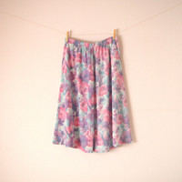 Vintage. Pastel Watercolor Skirt. Midi. Pink Purple White Mint. Abstract Floral. High Or Low Waist. Pockets. Elastic. Boho. Medium. Large.
